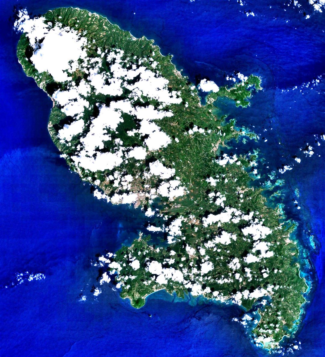 Large detailed satellite image of Martinique