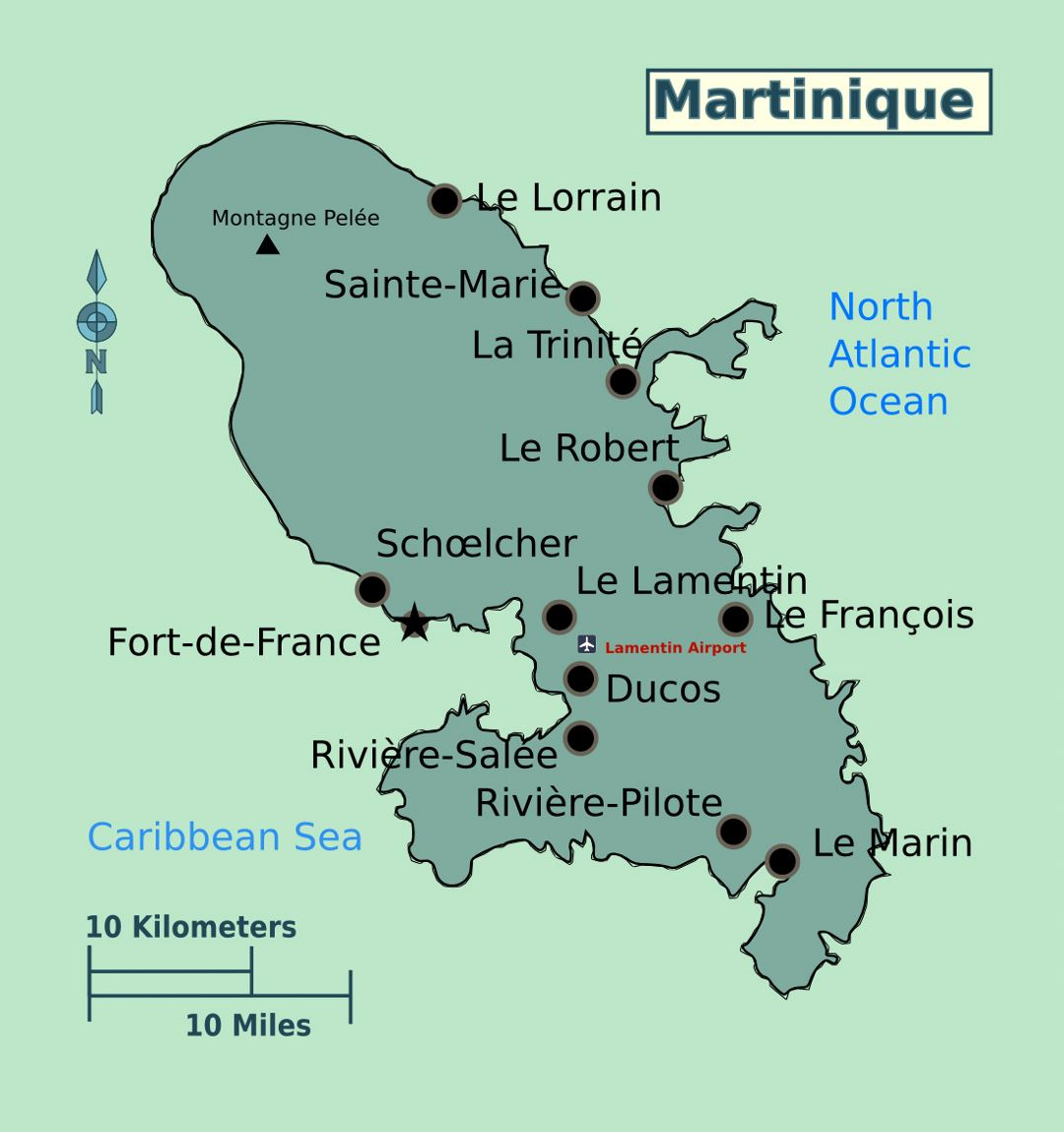 Large map of Martinique with cities and airport