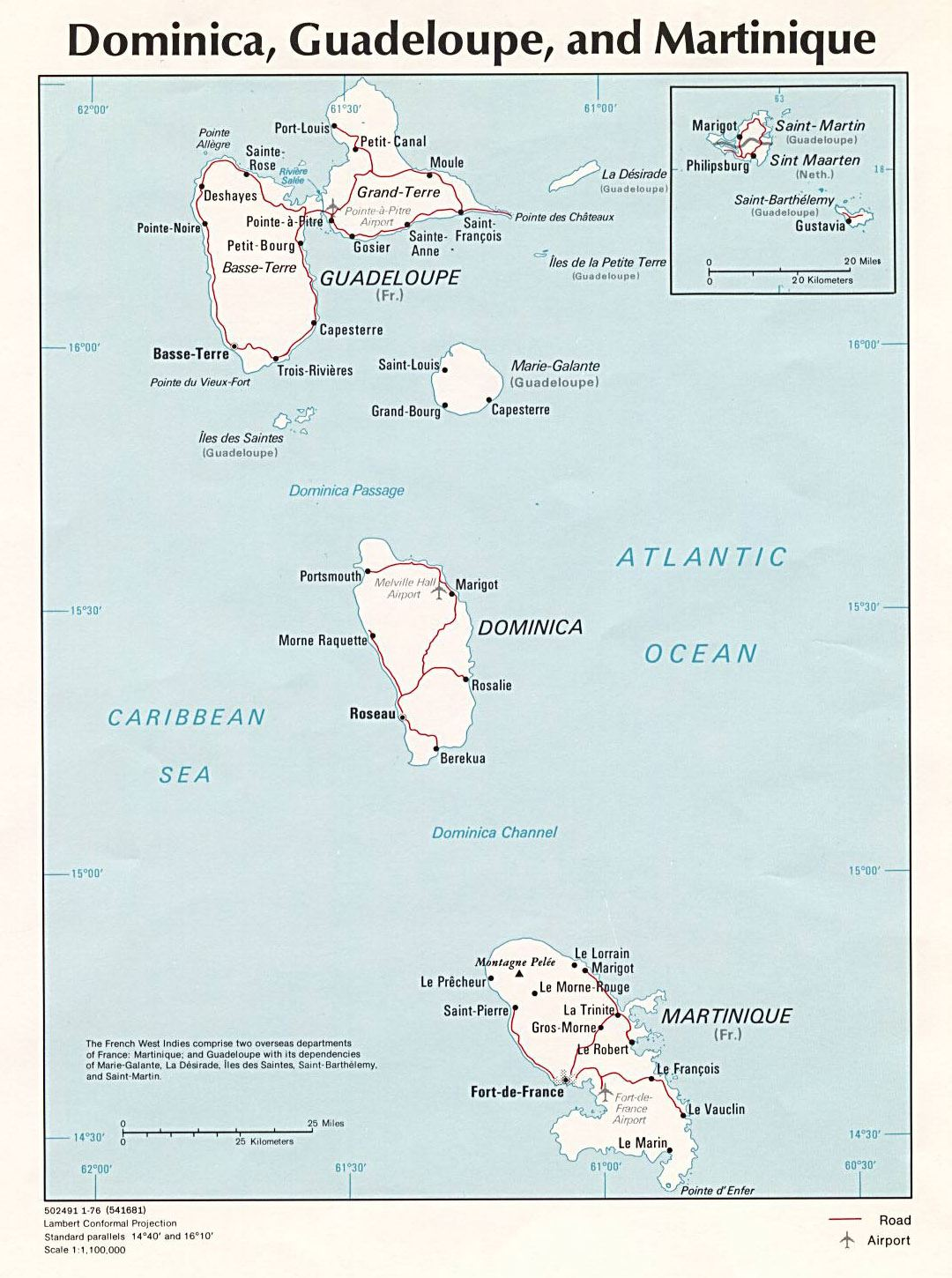 Large political map of Dominica, Guadeloupe and Martinique with other marks - 1976