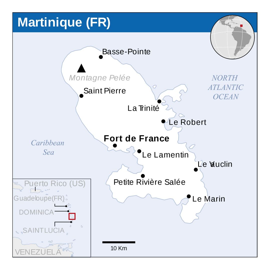 Large political map of Martinique with cities