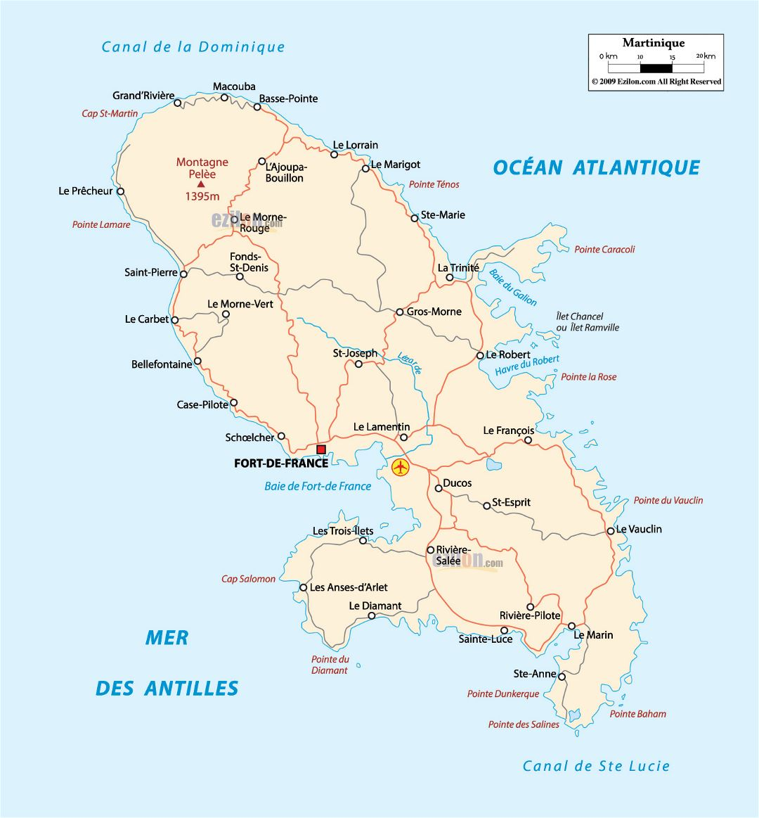 Large road map of Martinique with cities and airport