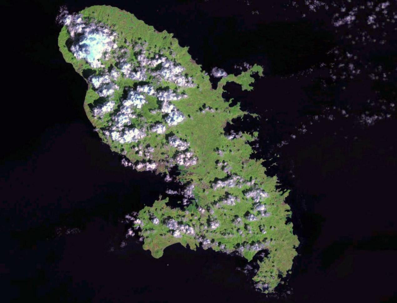 Large satellite map of Martinique | Martinique | North