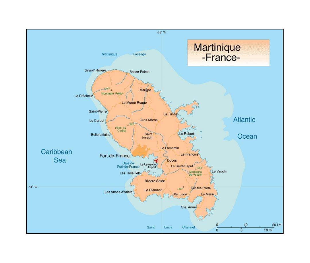 Political map of Martinique with cities, roads and airports