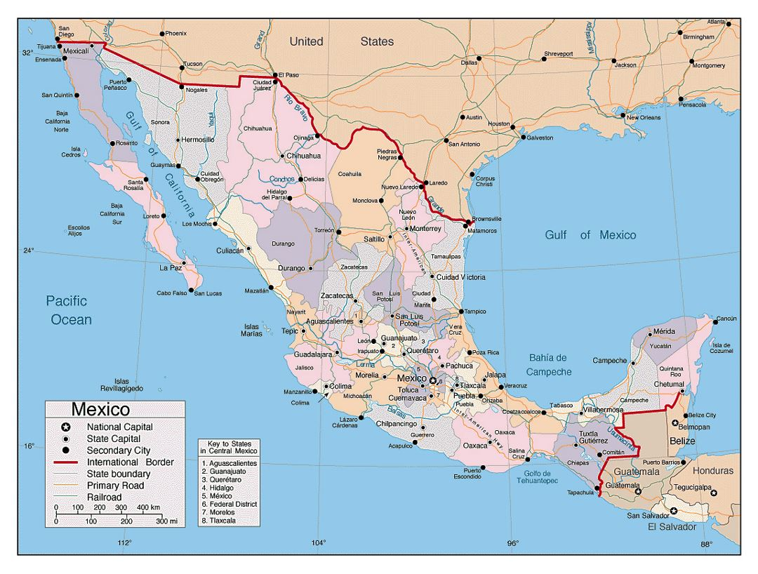 Detailed political and administrative map of Mexico with other marks