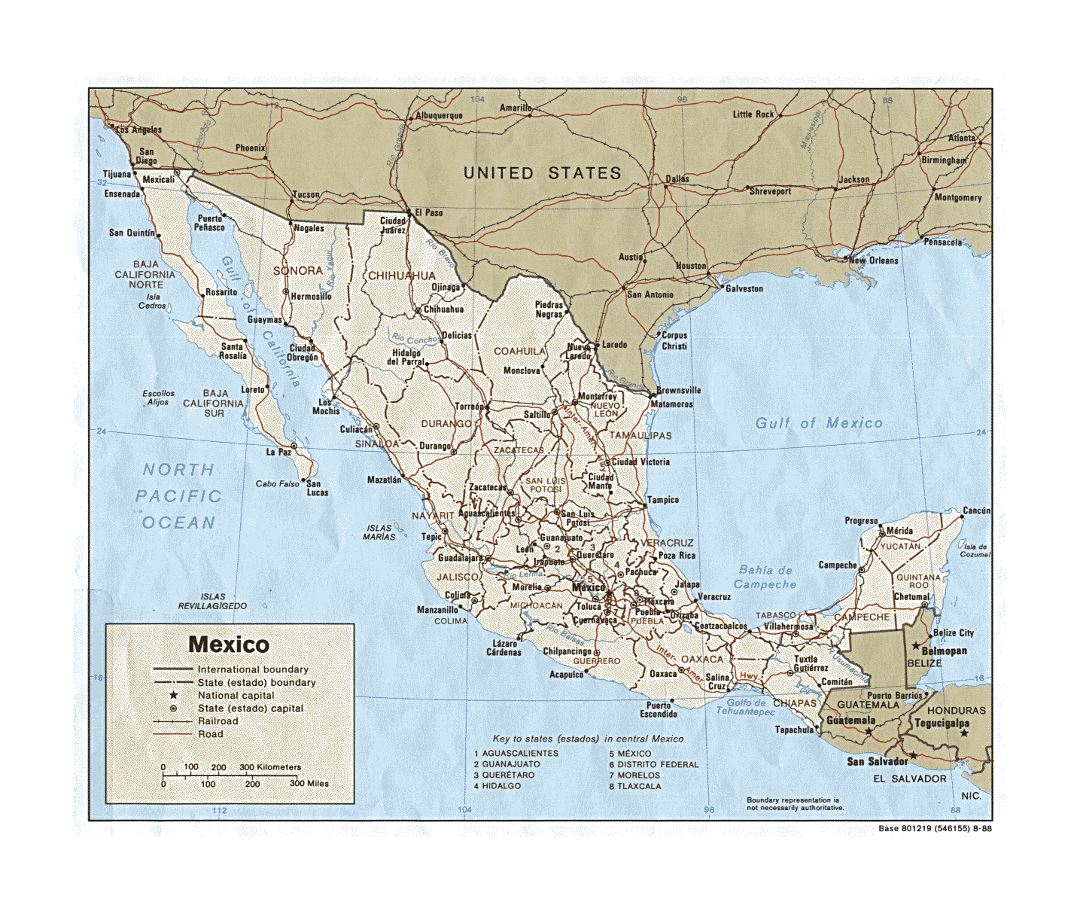 Detailed political and administrative map of Mexico with roads, railroads and major cities - 1988
