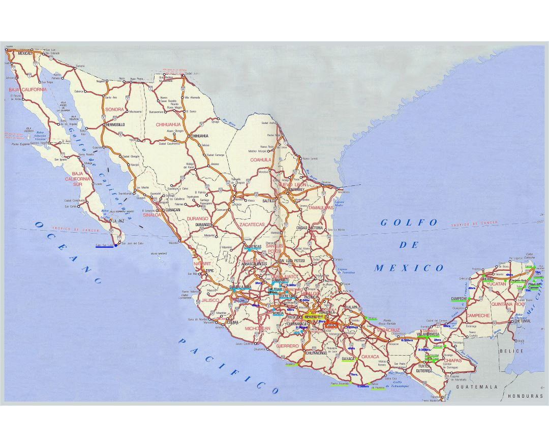 Large detailed highways map of Mexico