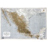 Large scale detailed old elevation map of Mexico with railways and ...