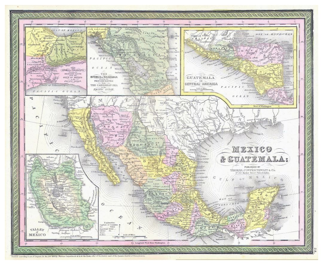 Large detailed old political and administrative map of Mexico and Guatemala with relief and other marks - 1850