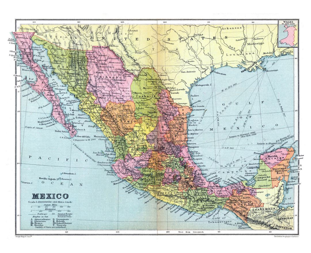 Large detailed old political and administrative map of Mexico with relief and other marks - 1936