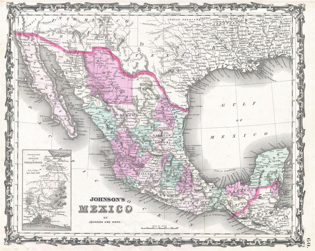 Large detailed old political and administrative map of Mexico with relief, cities and other marks - 1862