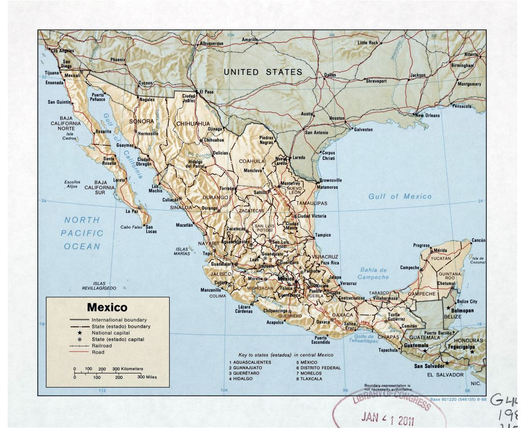 Large detailed political and administrative map of Mexico with relief, roads, railroads and major cities - 1988