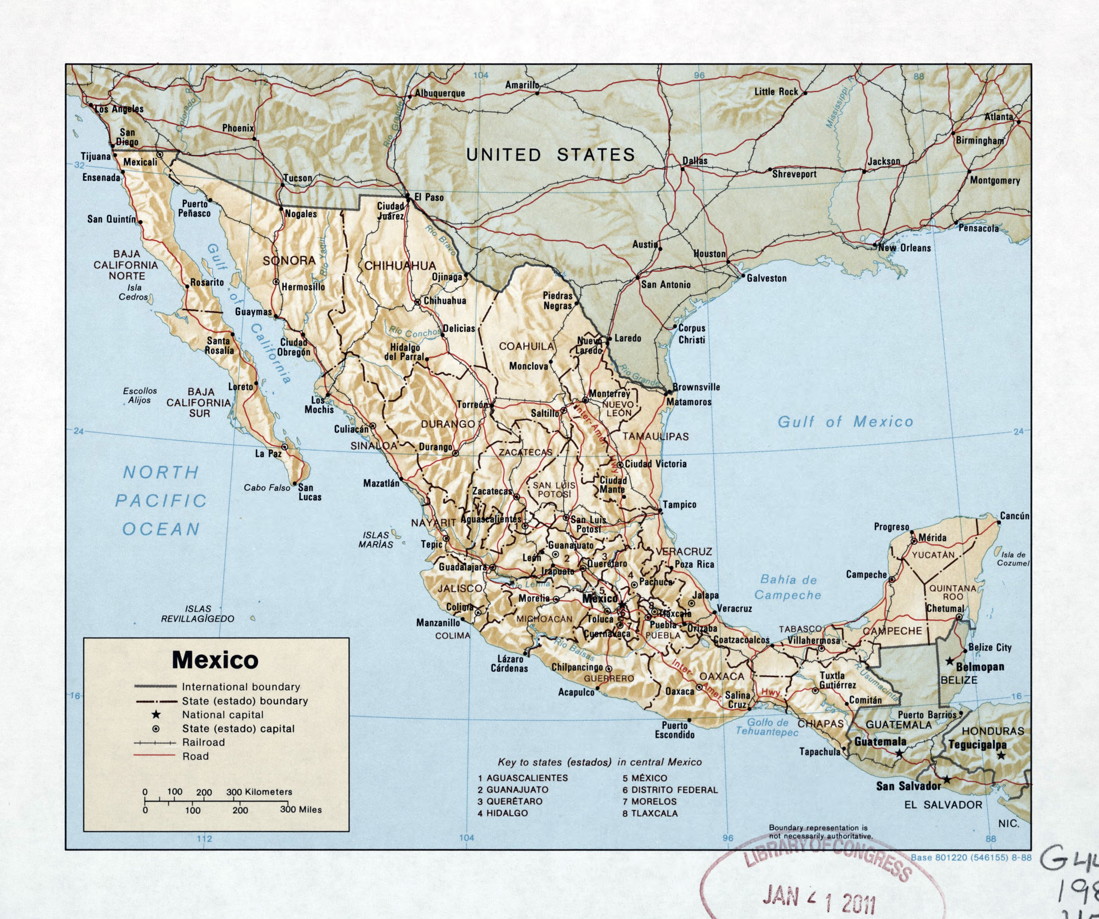 large detailed political and administrative map of mexico with relief roads railroads and major