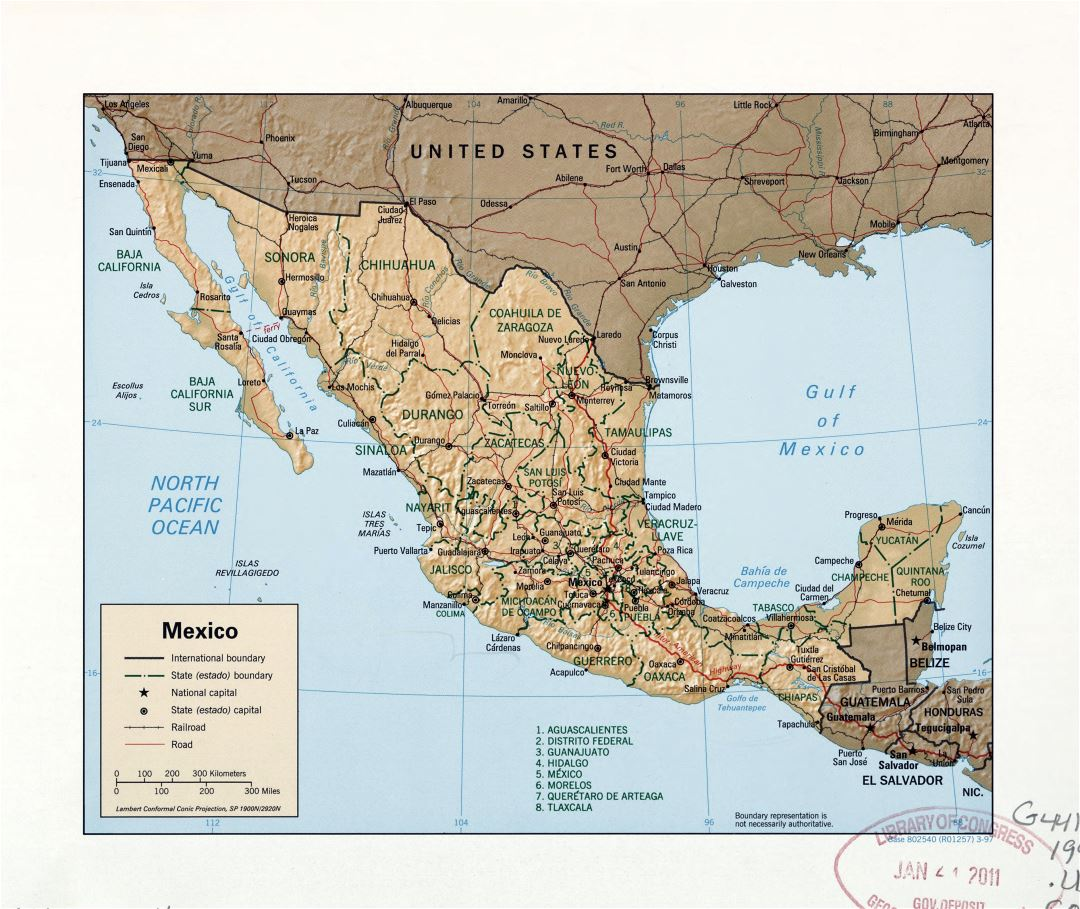 Large detailed political and administrative map of Mexico with relief, roads, railroads and major cities - 1997