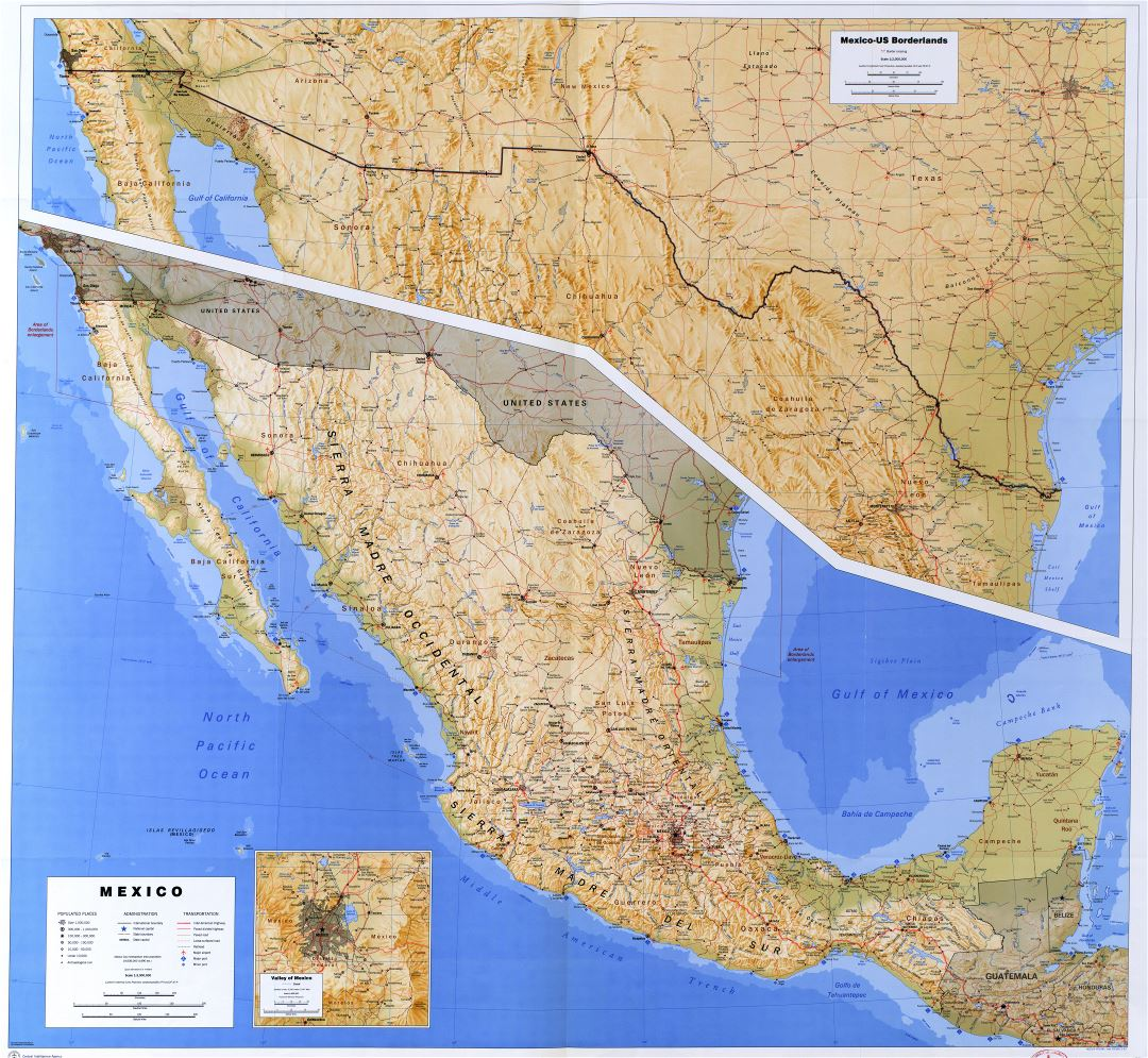 Large detailed political and administrative map of Mexico with relief, roads, railroads, cities, ports and airports - 1993