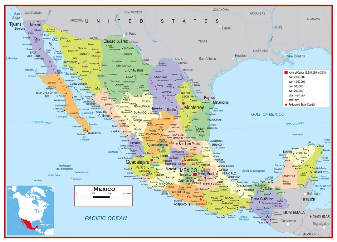 Large detailed political and administrative map of Mexico with roads, cities and airports