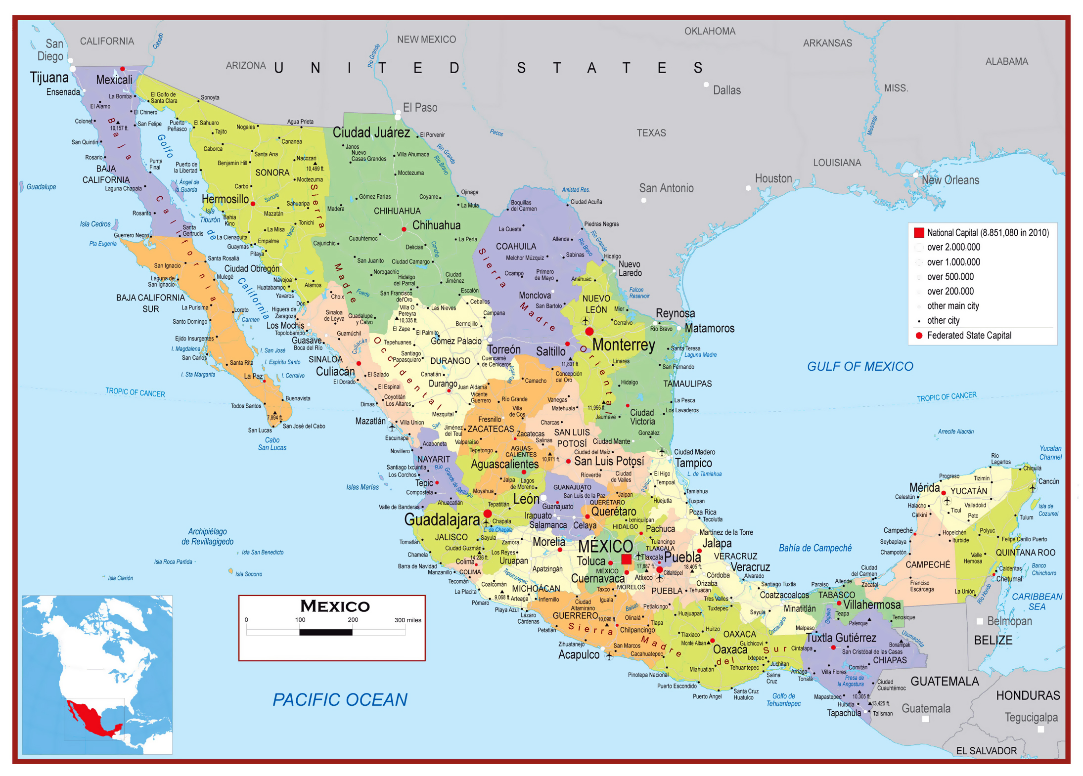 Large detailed political and administrative map of Mexico ... on map of north america rail, map of north america water, map of north america agriculture, map of north america food, map of north america refineries, map of north america time zones, map of north america waterways, map of north america auto plants, usa map airports, map china airports, map of north america national parks, map of north america ports, central america airports, map of north america rivers, map of north america cement plants, america's airports, map of north america railway,