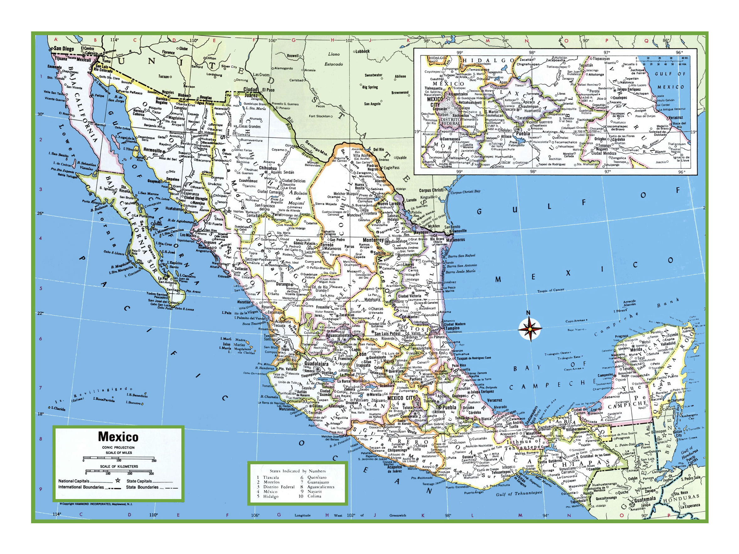 Large detailed political and administrative map of Mexico | Mexico ...