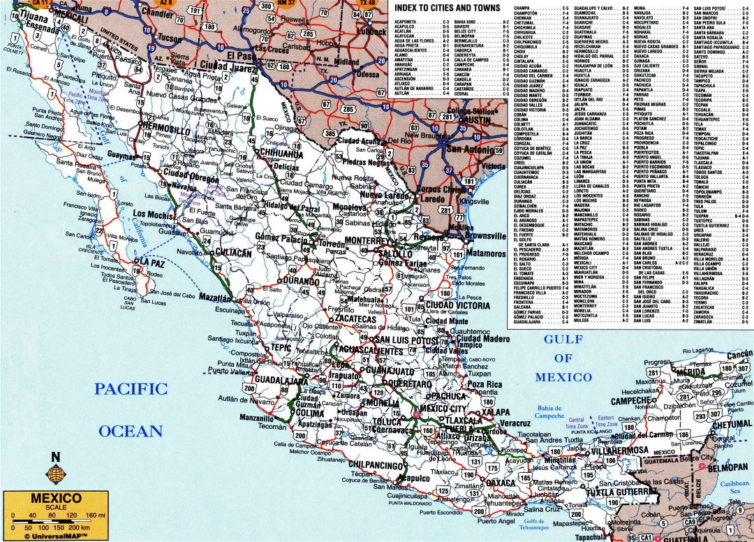 Large detailed roads and highways map of Mexico with administrative divisions and cities
