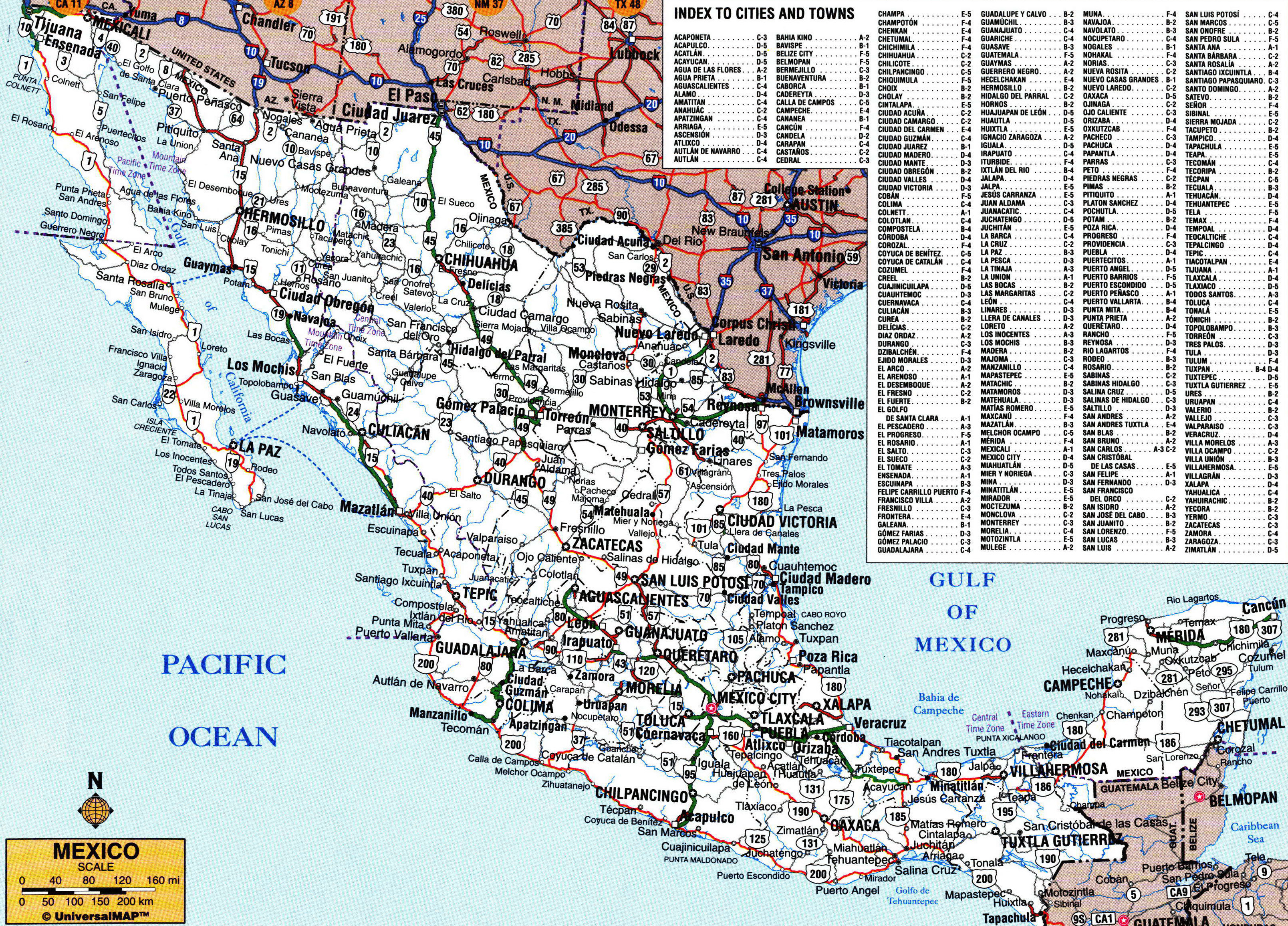 Large detailed roads and highways map of Mexico with administrative