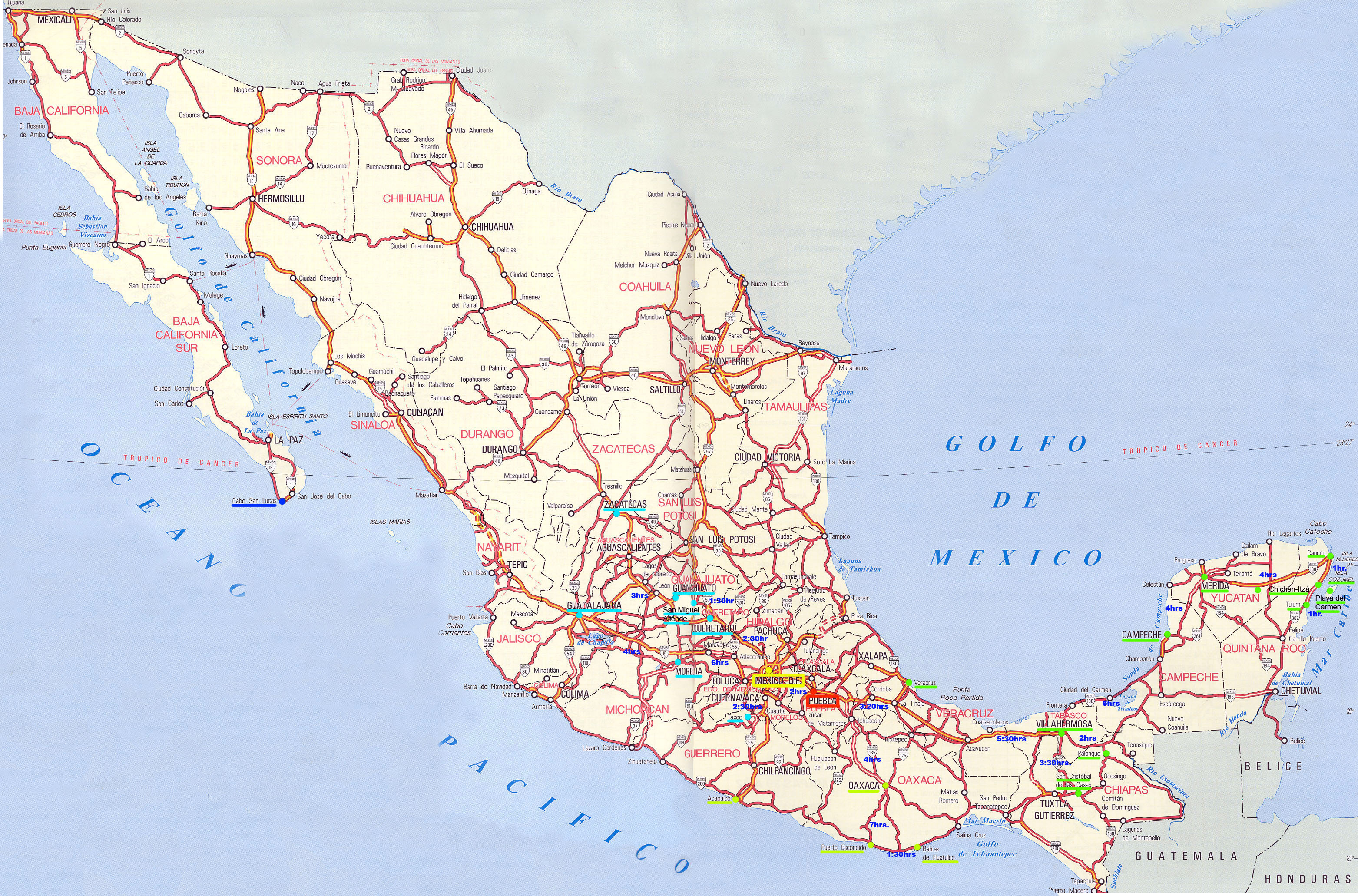 large detailed roads and highways map of mexico