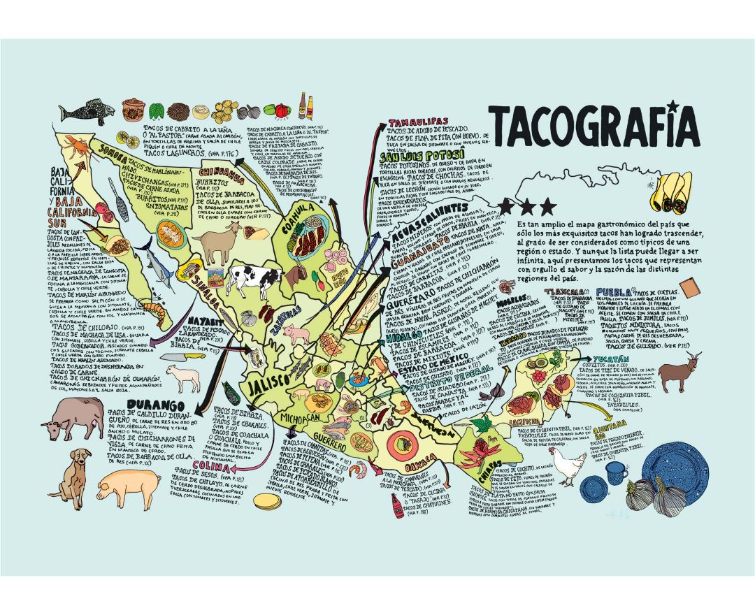 Large detailed tacografia illustrated map of Mexico