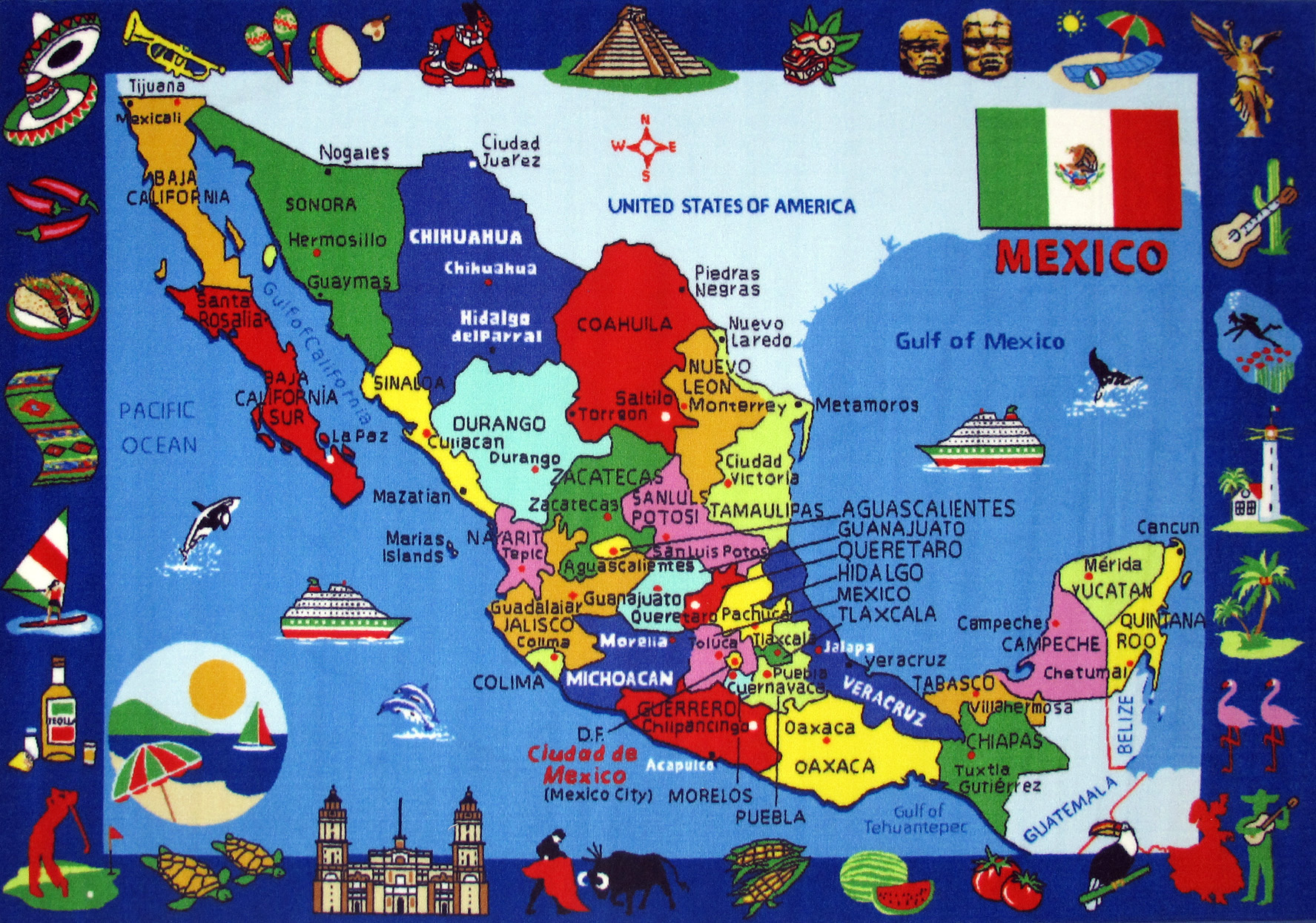 large detailed tourist illustrated map of mexico