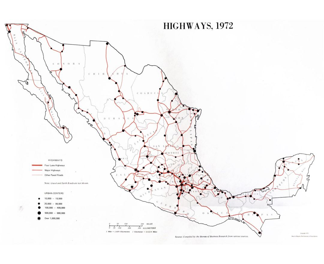 Large highways map of Mexico - 1972