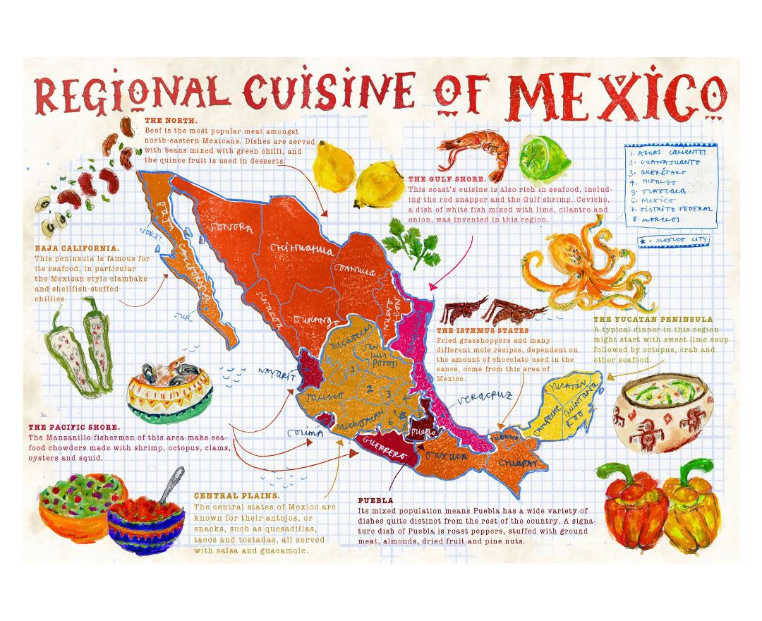 Large map of regional cuisine of Mexico