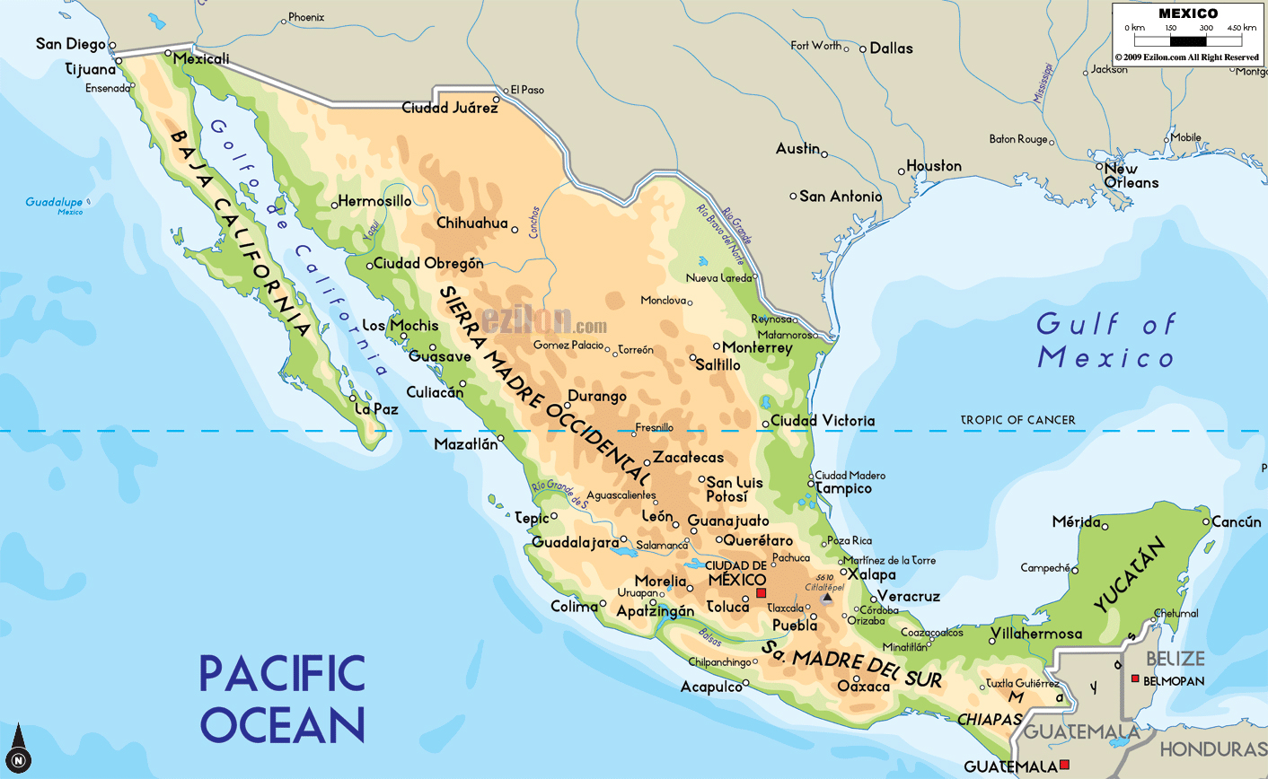 Large physical map of Mexico with major cities Mexico North