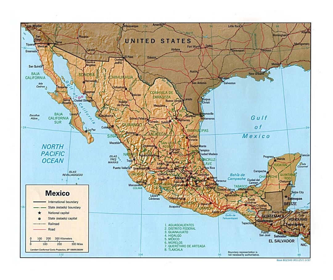 Large political and administrative map of Mexico with relief, roads, railroads and major cities - 1997