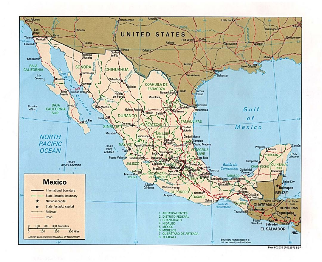 Large political and administrative map of Mexico with roads, railroads and major cities - 1997