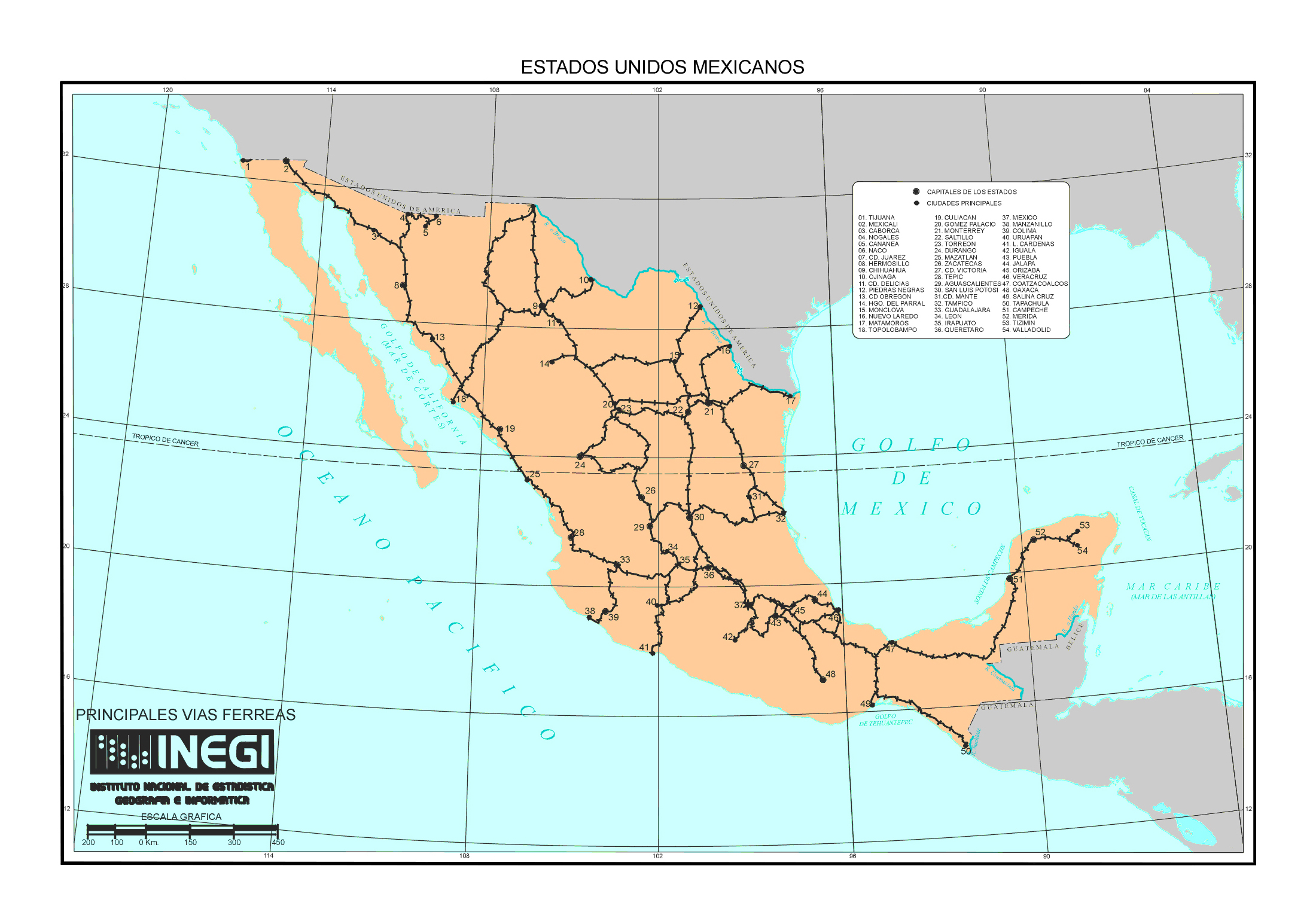 large railroads map of mexico