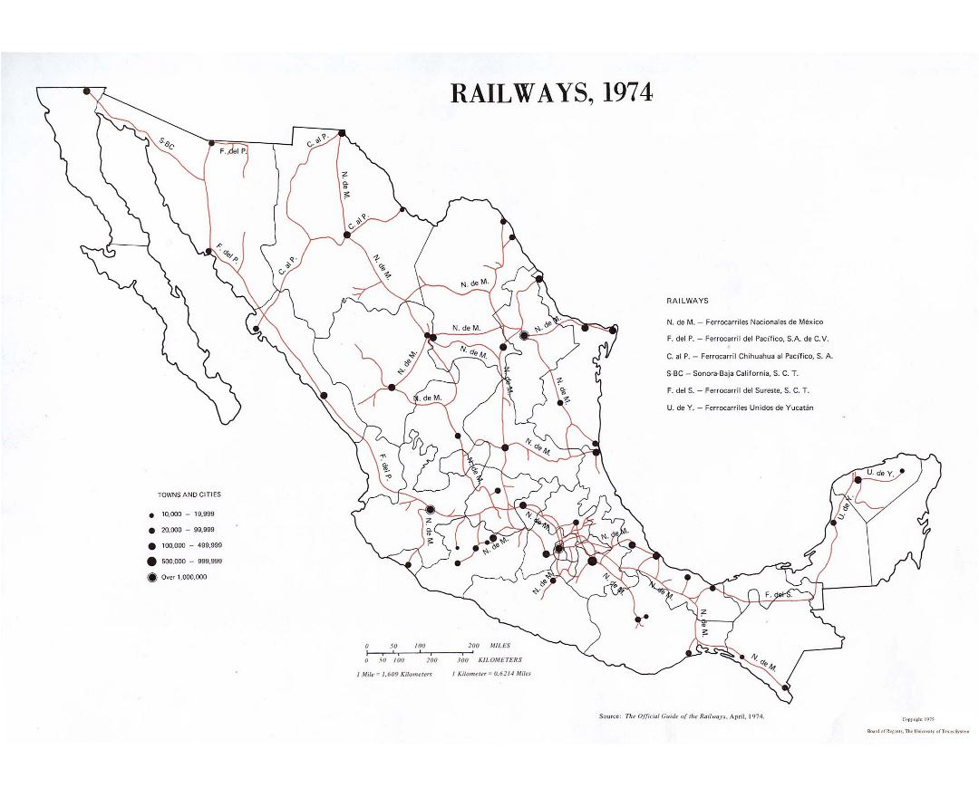 Large railways map of Mexico - 1974