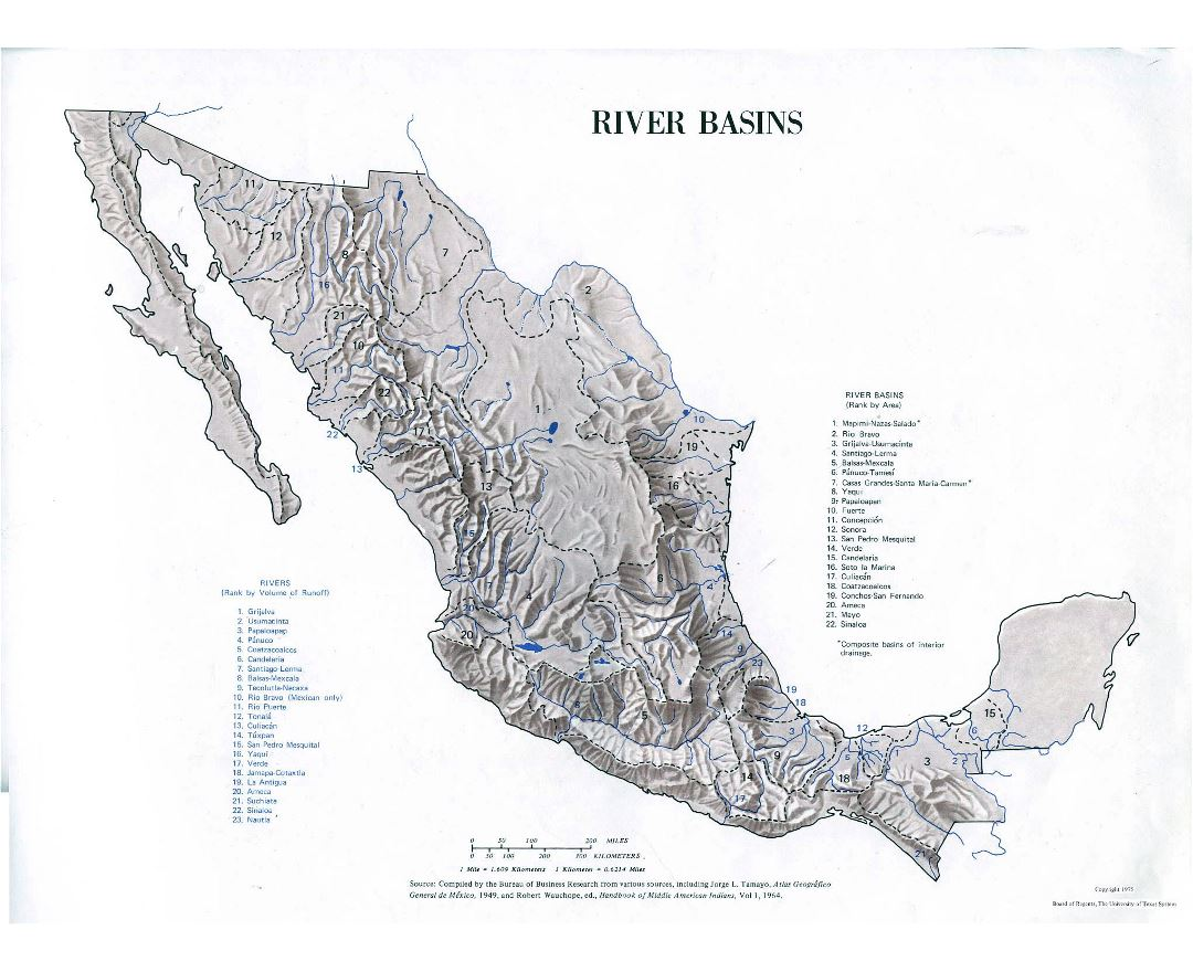 Large river basins map of Mexico - 1975