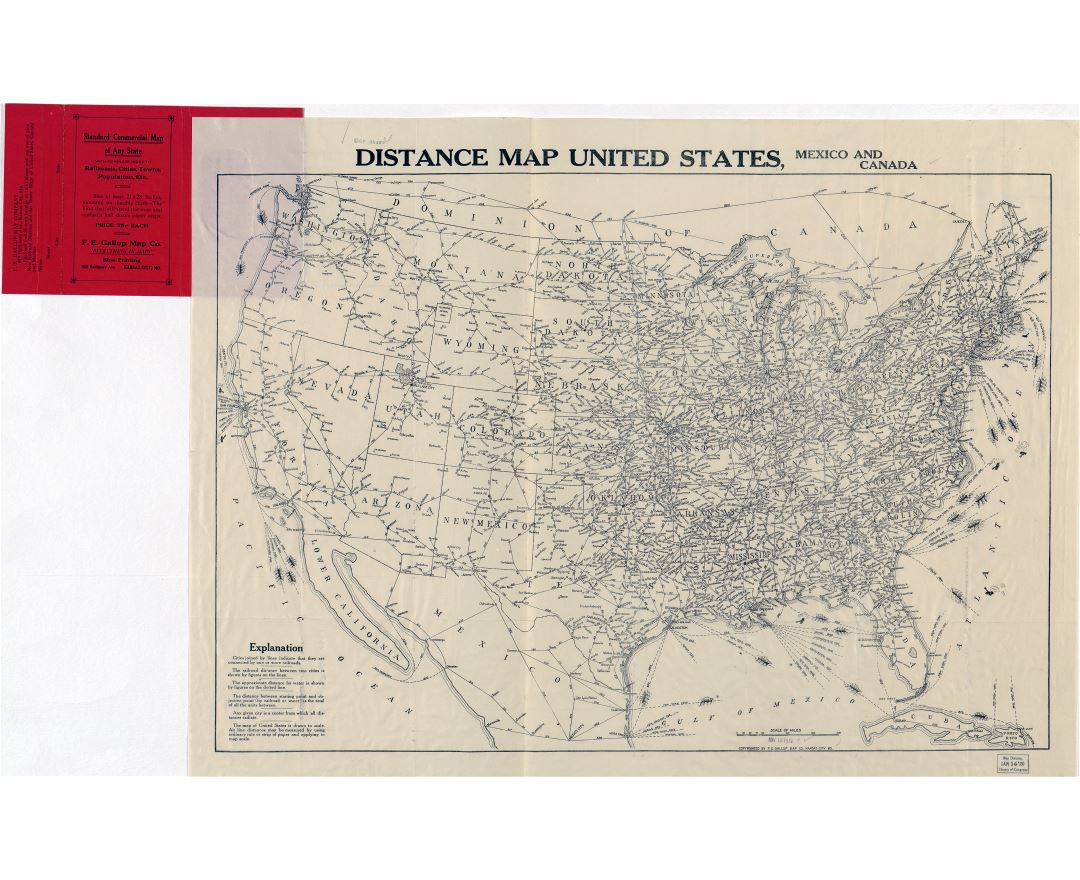 Large scale detailed old distance map of United States, Mexico and Canada - 1919