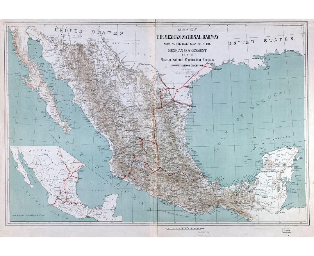 Large scale detailed old map of the Mexican National Railway - 1881