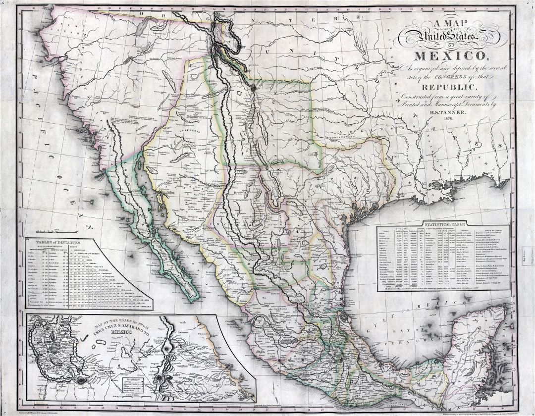 Large Scale Detailed Old Map Of The United States Of Mexico With