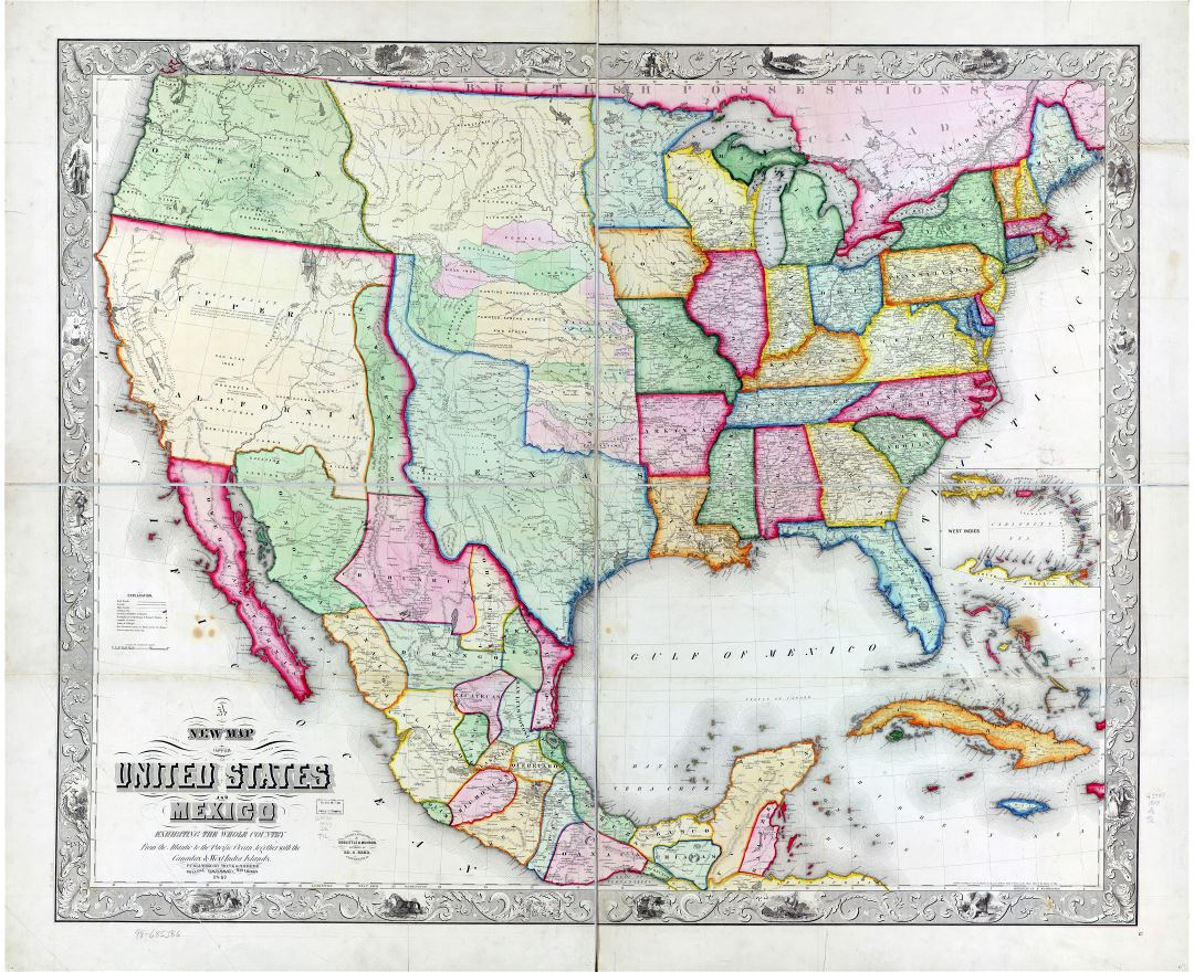 Large scale detailed old political map of the United States and Mexico - 1847