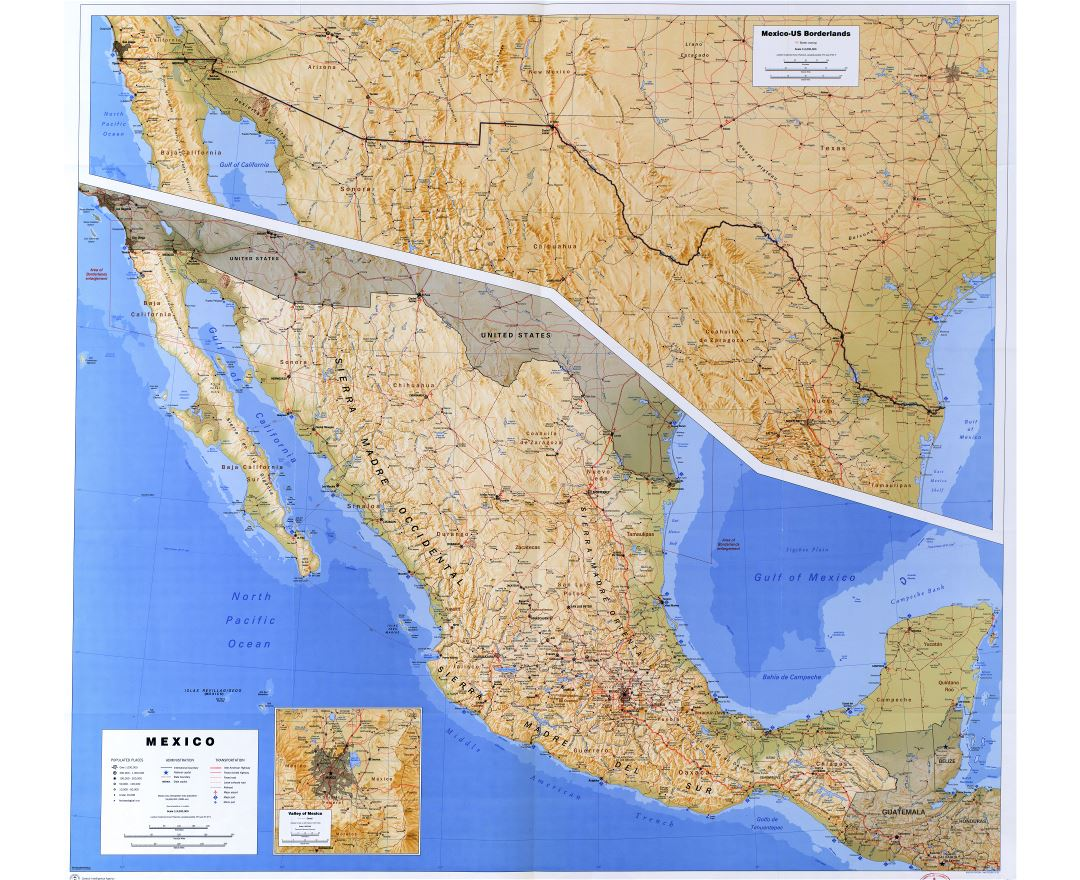 Large scale detailed reference map of Mexico - 1993