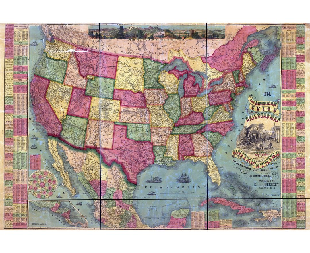 Large scale detailed the American Union Railroad old map of the United States, British Possessions, West Indies, Mexico and Central America - 1874