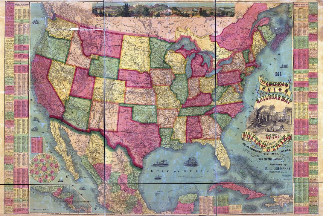Large scale detailed the American Union Railroad old map of the