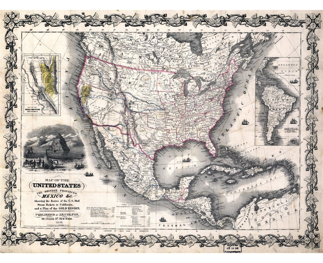 Large Scale Old Map Of The United States The British Provinces And Mexico 1849