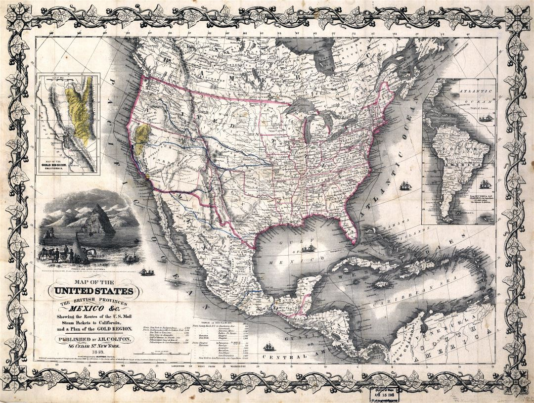 Large scale old map of the United States, the British Provinces and Mexico - 1849