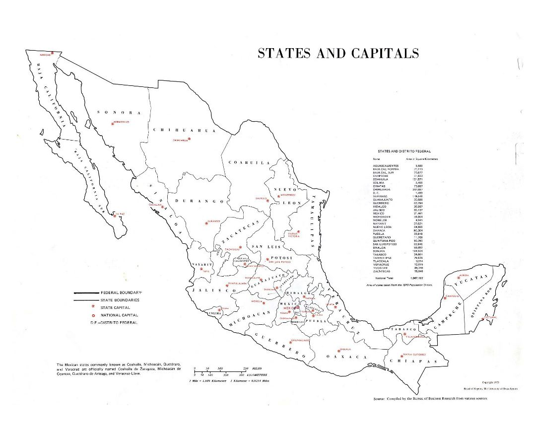Large states and capitals map of Mexico - 1975
