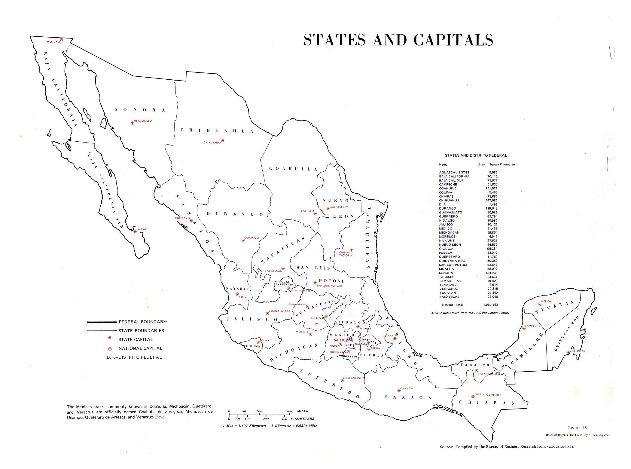 Inclding Mexico Of Usa With States Capitals Map on