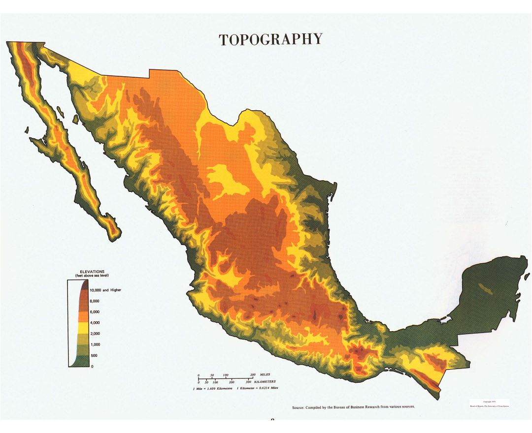 Large topography map of Mexico - 1975