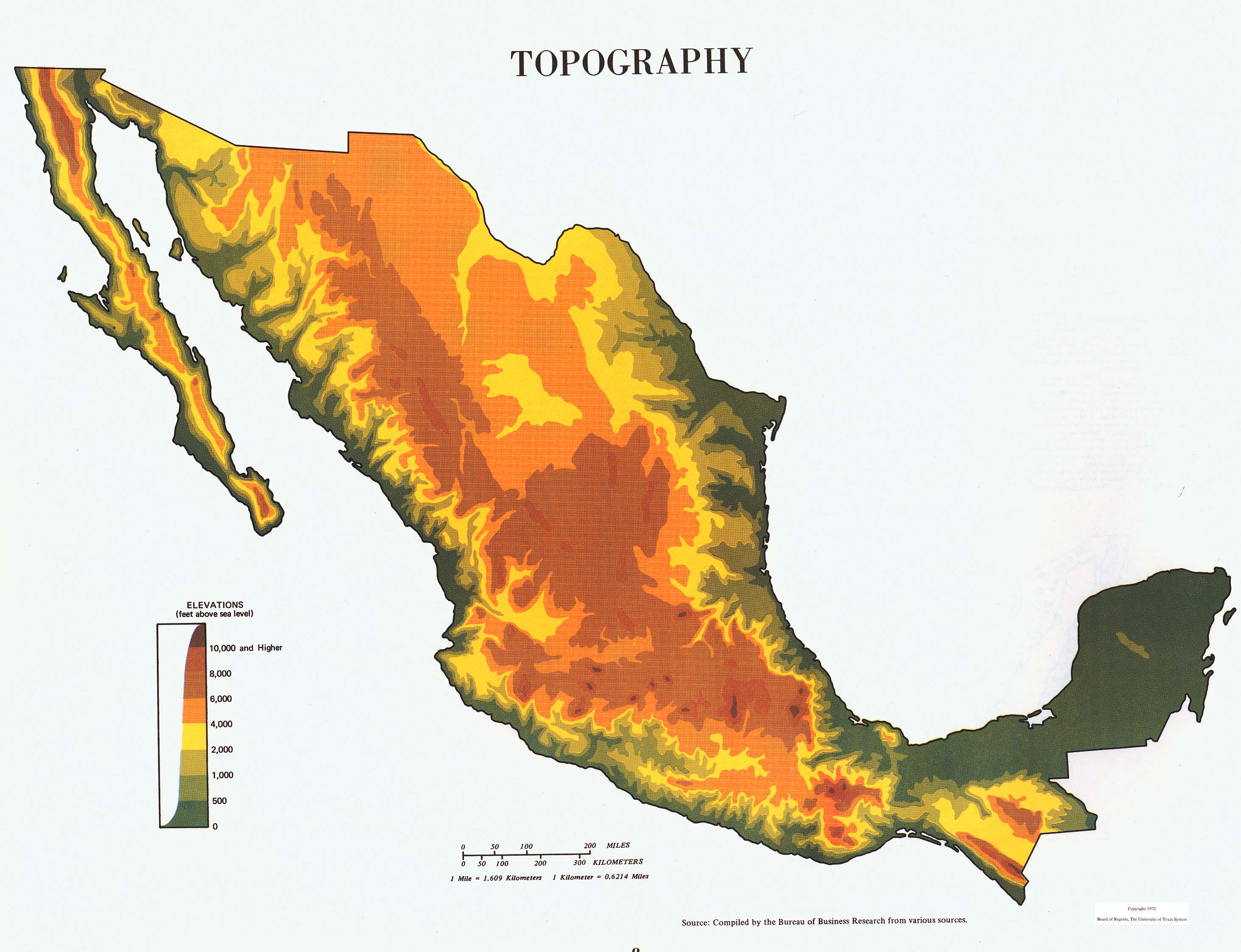 large topography map of mexico 1975