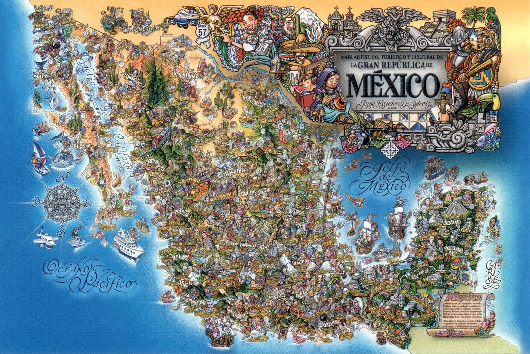 Large tourist illustrated map of Mexico
