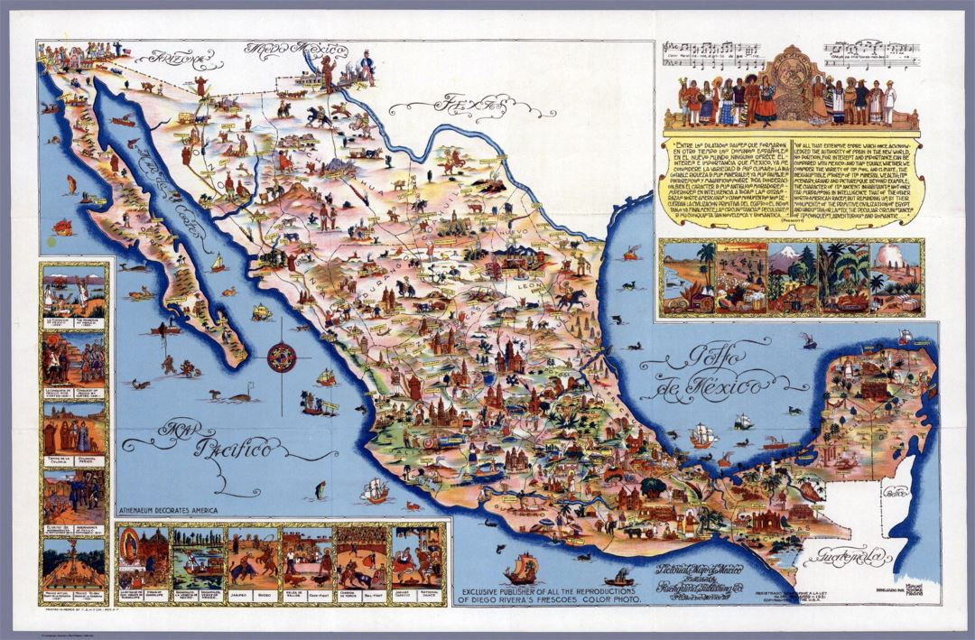 Large travel illustrated map of Mexico