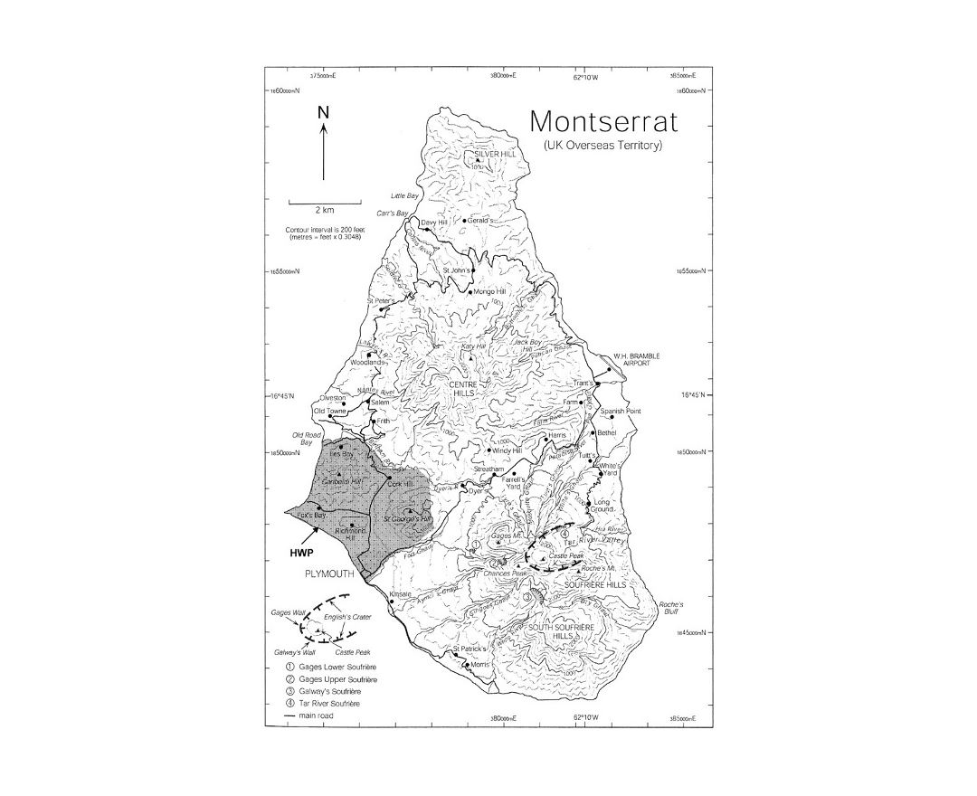 Detailed topographical map of Montserrat island